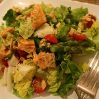 Salmon and Asparagus Salad with Pesto Vinaigrette
