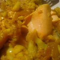Salmon and Cauliflower Curry with Turmeric