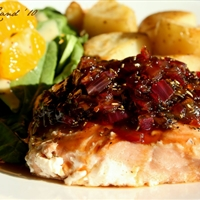 Salmon with Marmalade-Balsamic Sauce