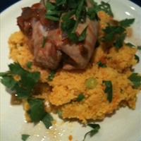 Salsa chicken on carrot couscous