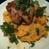 Salsa chicken on carrot couscous
