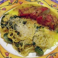 Saltimbocca Chicken Breasts with Sage Sauce and Creamy Arugula Pasta