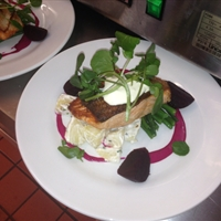 Seared salmon with beet root and horse radish creme friache