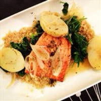 Seared Salmon with Kale and Quinoa