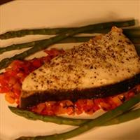 Seasoned Halibut on Sweet Peppers
