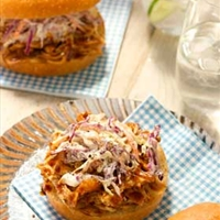 Simple BBQ Chicken and Slaw Sandwiches