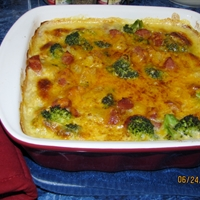 Smoked Sausage Casserole with Potatoes, Cheese and Broccoli