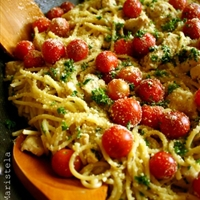 Spaghetti with Lemon-Herb Chicken, Cherry Tomatoes and Garlic Gravy