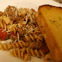 Spicy Sausage Rotini with Tomatoes & Roasted Red Peppers