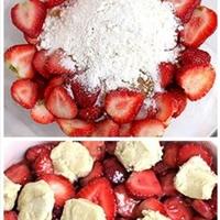 Strawberry cookie cobbler