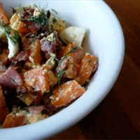 Sweet potato, bacon, and egg salad