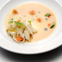 Sweet Shrimp Bisque, Scallop, and Daikon Noodles with Thai Basil