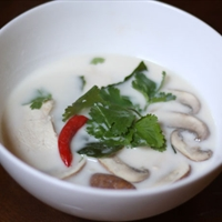 Thai Coconut Chicken Soup (Tom Kha Gai) with Mushrooms
