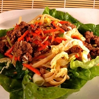 Thai-style Pork with Pasta On Lettuce