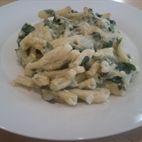 Three-Cheese Macaroni with Spinach