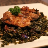 Too Easy Chicken Adobo, Roasted Greens, Beets, Garlic ( by Sarah Fragoso )