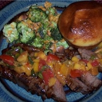 Top Loin Steaks with Mango Peach Salsa