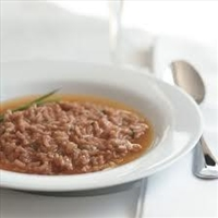 Truffled Red Wine Risotto with Parmesan Broth