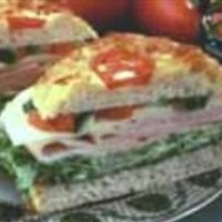 Turkey Focaccia Sandwich with Basil Salsa