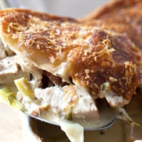 Turkey, ham and leek pie