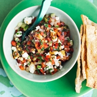 Turkish pepper and feta salsa with pita crisps