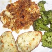 Twice Baked Cheesy Stuffed Garlic Potatoes