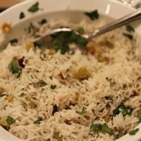 Usha's Sogi Pallao (Rice with Golden Raisins)