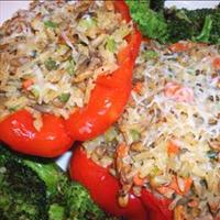 Vegetarian Baked Stuffed Red Bell Peppers