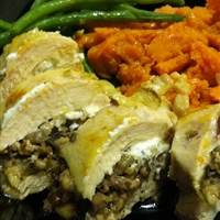 Walnut, mushroom, and goat cheese stuffed chicken