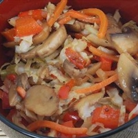 Warm Cabbage and Mushroom Slaw