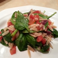 Warm Spinach Orzo Salad