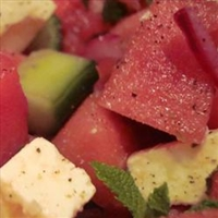 Watermelon Salad with Tomato and Cucumber