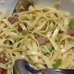 Pepperoni Sausage Pasta with Aglio Olio