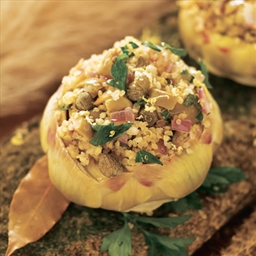 Artichokes Stuffed With Quinoa, Olives, And Capers