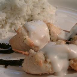 Aspargus and feta chicken bites