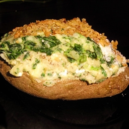 Baked Potatoes Stuffed with Spinach, Parmesan and Mushrooms
