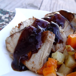 Jamie Cooks it Up's Balsamic and Brown Sugar Glazed Pork Roast