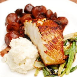 Black cod with balsamic braised shallots, mashed potatoes, and green onions