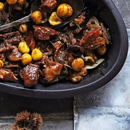 Braised lamb, chestnuts and wild mushrooms with juniper and rosemary recipe