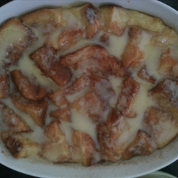 Bread Pudding with White Sauce