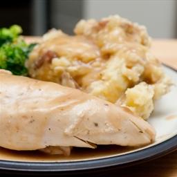 Brined Roast Turkey with Pan Gravy