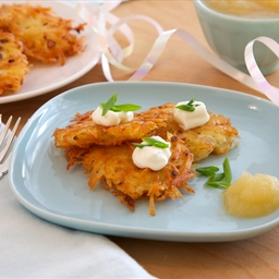 Butternut Squash Latkes with Sage and Pine Nut Yogurt Sauce