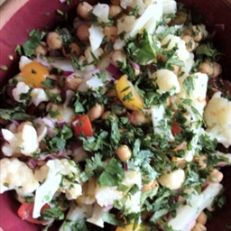 Cauliflower, Chickpea and Cherry Tomato Salad with Red Onion and Cilantro