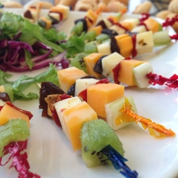 Cheese and fruit kebabs