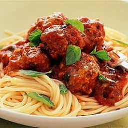 Cheesy meatballs with spaghetti