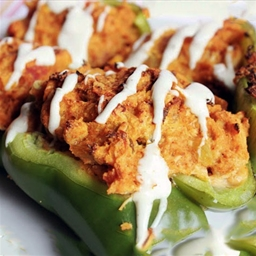 Chicken & Cornbread Stuffed Peppers (Poppin' Chicken Pones)