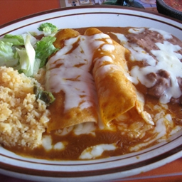 Chicken Enchiladas with Mexican Rice and Re-fried Beans (integrated meal)