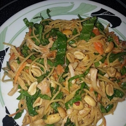 Chicken noodle salad with satay dressing