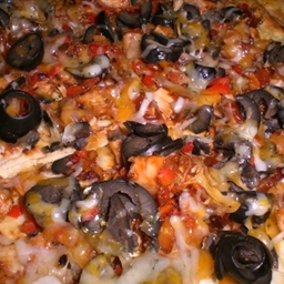 Chicken Pizza with Three Cheeses