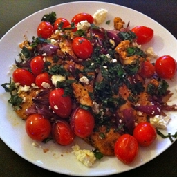 Chicken with Sauteed Tomatoes, Basil and Feta